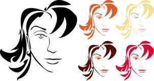 Caras de la mujer stock de ilustración