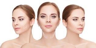 caras de la mujer con las flechas sobre el fondo blanco Estafa de la elevación de cara Foto de archivo libre de regalías