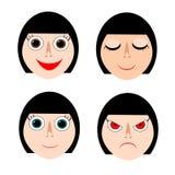 Caras de la señora en la sonrisa, dormir, normal, y expresiones enojadas Ilustración del vector stock de ilustración
