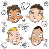 Caras de la sonrisa de la historieta Imágenes de archivo libres de regalías