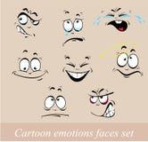 Caras de las emociones de la historieta fijadas Foto de archivo