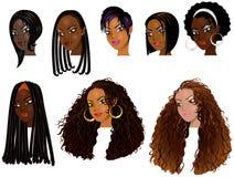 Caras 2 de las mujeres negras ilustración del vector