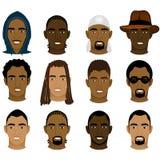 Caras de los hombres negros Fotos de archivo libres de regalías