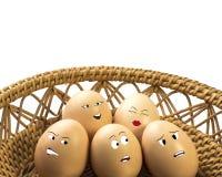 Caras de los huevos Foto de archivo