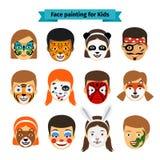 Caras de los niños con la pintura ilustración del vector