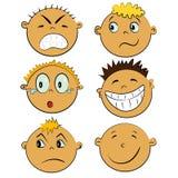 Caras de los niños fijadas. emociones de la gente Foto de archivo libre de regalías