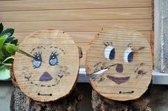 Caras de madera Imagenes de archivo
