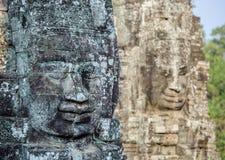 Caras de pedra no templo do bayon em Siem Reap, cambodia 7 foto de stock