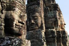 Caras de piedra del templo Bayon en Camboya Fotos de archivo