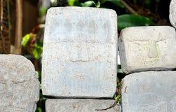 Caras de piedra talladas Foto de archivo
