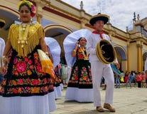 Caras de sorriso na celebração de Guelaguetza em Ocotlan, Oaxaca Imagens de Stock Royalty Free