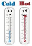 Caras de termómetros fríos y calientes stock de ilustración