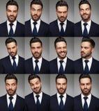 Caras de un hombre de negocios - imagen del collage fotos de archivo libres de regalías