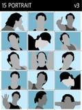 Caras de varones stock de ilustración