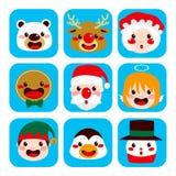 Caras del carácter de la Navidad stock de ilustración