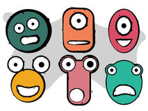 Caras del carácter del monstruo Fotografía de archivo libre de regalías