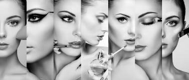 Caras del collage de la belleza de mujeres imágenes de archivo libres de regalías