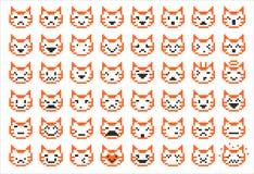 Caras del gato del pixel Fotos de archivo