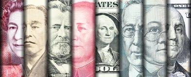 Caras del líder famoso en billetes de banco del país principal en el w fotos de archivo libres de regalías