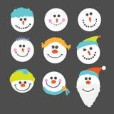 Caras del muñeco de nieve Fotografía de archivo libre de regalías