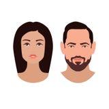 Caras del muchacho y de la muchacha Imagen de archivo libre de regalías