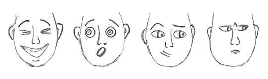 Caras desenhados à mão dos desenhos animados Fotos de Stock