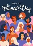 Caras diversas fêmeas do cartaz diferente da afiliação étnica Teste padrão do movimento da concessão das mulheres Gráfico do dia  ilustração stock