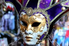 Caras do carnaval em Veneza Fotografia de Stock