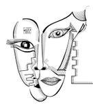 Caras do desenho da mão no estilo do cubismo Molde surreal abstrato do vetor Imagens de Stock Royalty Free