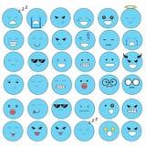 Caras do Emoticon que mostram emoções diferentes A alegria, tristeza, raiva, falar, engraçada, teme, sorri Ilustração isolada no  ilustração royalty free