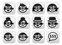 Caras do homem e da mulher do ladrão nos ícones das máscaras ajustados Foto de Stock Royalty Free