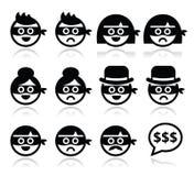 Caras do homem e da mulher do ladrão nos ícones das máscaras ajustados Fotos de Stock