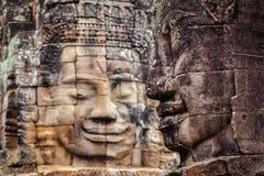 Caras do templo de Bayon, Angkor, Camboja Imagens de Stock Royalty Free