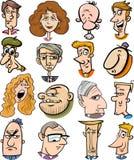 Caras dos caráteres dos povos dos desenhos animados Fotos de Stock