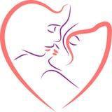 Caras dos pares na forma do coração ilustração stock