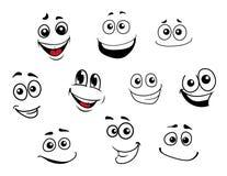 Caras emocionais dos desenhos animados engraçados ajustadas Imagem de Stock Royalty Free