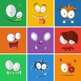 Caras engraçadas dos desenhos animados com emoções Grupo do vetor da expressão dos monstro Imagem de Stock Royalty Free