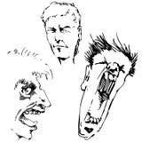 Caras enojadas Fotos de archivo