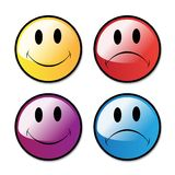 Caras felices e infelices Fotografía de archivo libre de regalías