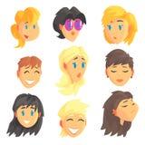 Caras femeninas del avatar de la historieta con diversas emociones Sistema de mujeres de diversas naciones y profesiones, colorid stock de ilustración