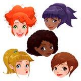 Caras fêmeas Imagens de Stock