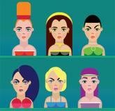 Caras hermosas de las mujeres ilustración del vector