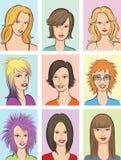 Caras hermosas de las mujeres libre illustration