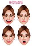 Caras hermosas del maquillaje del carácter del vector de la mujer con expresiones faciales ilustración del vector