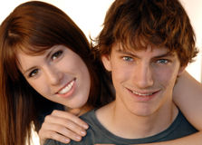 Caras jovenes de los pares Imágenes de archivo libres de regalías