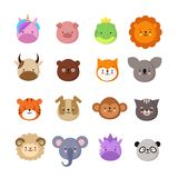 Caras lindas de los animales Perro y gato, vaca y zorro, unicornio y panda Emoji animal del niño Colección del vector del parque  stock de ilustración