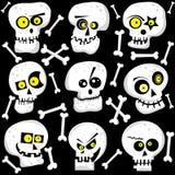 Caras lindas del cráneo de Halloween Foto de archivo libre de regalías