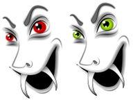 Caras malvadas del vampiro de Víspera de Todos los Santos ilustración del vector