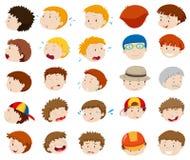 Caras masculinas com emoções diferentes Foto de Stock Royalty Free