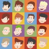 Caras masculinas en diseño plano Imagen de archivo libre de regalías